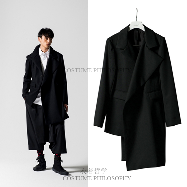 Fashionable men's and women   trench   coat is irregular, asymmetrical, and loosely tailored for autumn and winter. S-6XL!!