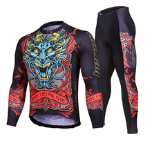 High Quality Men Cycling Jersey Set Pants Ropa Ciclismo  MTB Bike Bicycle Cycling Jacket Sets With Sponge Pad Tiger Head Printed