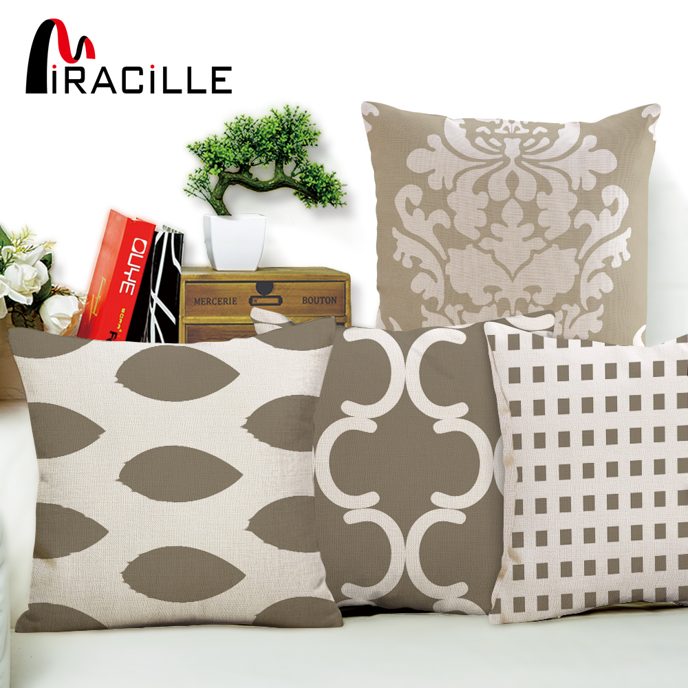 Miracille Grey Geometry Series Cushion Covers Cotton Linen Lattice Flower Pillow Case for Sofa Bed Home Nordic Decorative
