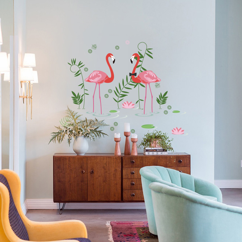 Flamingos Wall Decal Sticker Home/Store Decor DIY Removable Art Vinyl Mural For Living Room/Sofa/Club QTB620 Animal