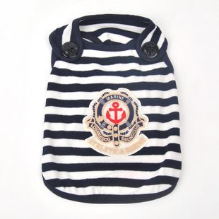 2012 Hot Sale Anti-mosquito Fabrics Sailor Striped Dog Vest Dog Summer Clothes Blue/Red S/M/L/XL Wholesale/Retail Mix Order