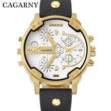 Cagarny новый двойной Time мальчик часы властная Военная Униформа Водонепроницаемый Бизнес классические часы золотые В виде ракушки пояса кварцевые Для мужчин часы