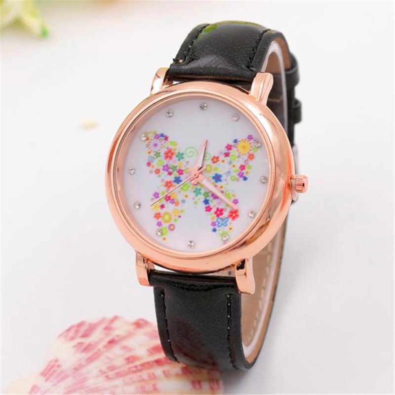 Gorąca sprzedaż motyl buty wzór skórzany pasek kwarcowy analogowy zegarek Vogue 2019 Top marka zegarek na co dzień mody zegarek na rękę Relojes
