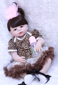 "Silicone dolls reborn 22""NPK real baby new born toddler princess dolls soft BJD bebes reborn bonecas can enter water"
