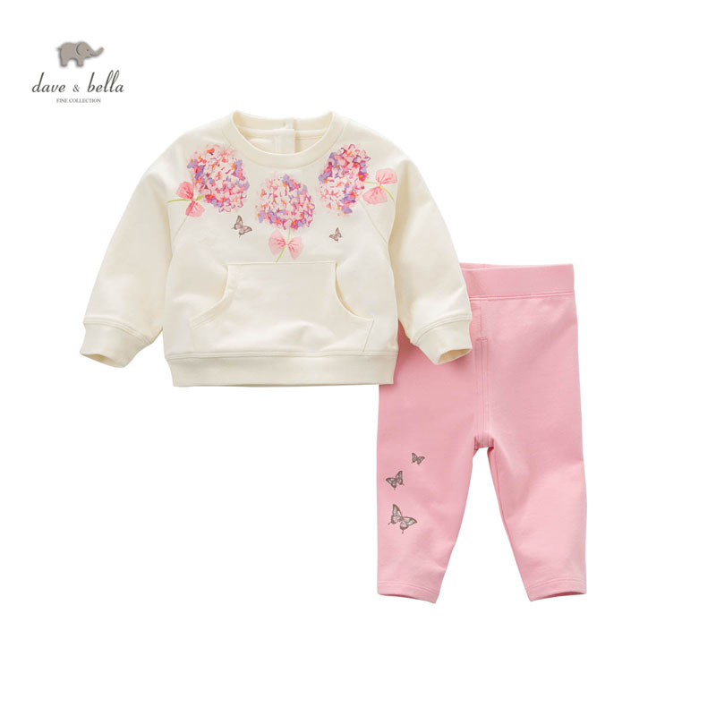 цена на DB5115 dave bella spring fall baby girls flower printed clothing set sports set boutique clothes