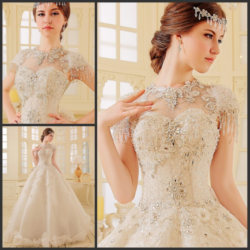 2019 Luxury Ball Gown Cathedral Train O Neck A Line Crystal Beaded Rhinestone Organza Lurtrous Wedding Bridal Dresses Trouwjurk