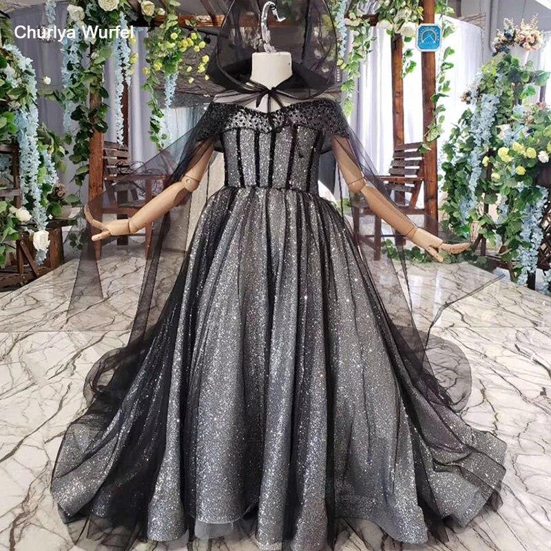 HTL571 Grey First Communion Dresses With Glitter Off The Shoulder Shiny Train Parent-child With Cape Vestido Primera Comunion