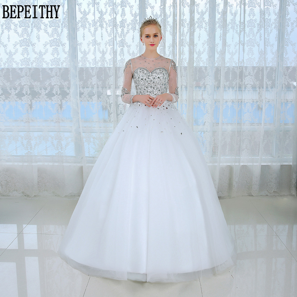 Bepeithy casamento long sleeve ball gown wedding dress for Wedding dresses with sleeves for sale