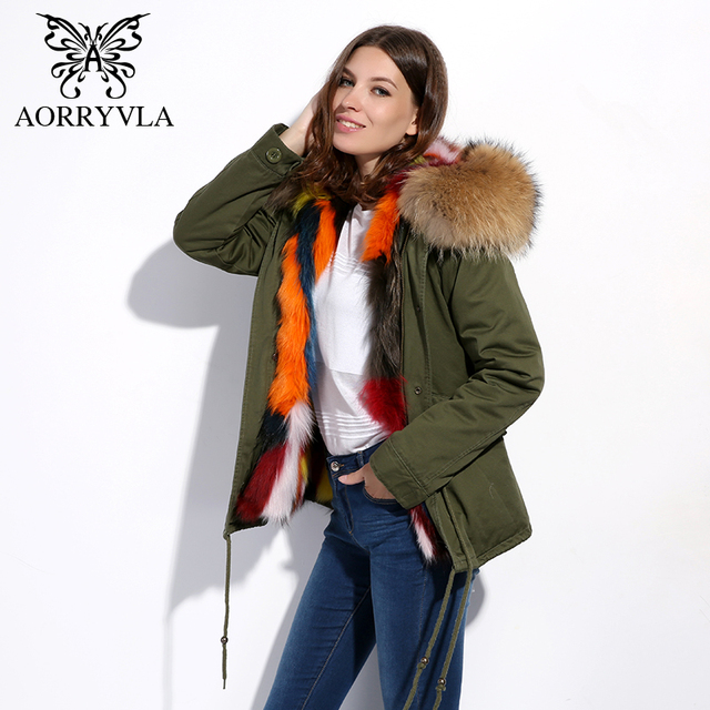 AORRYVLA Real Fur Parka For Women Winter 2017 Large Raccoon Fur Hooded Coat Thick Warm Fox Fur Lining Short Jacket Good Quality