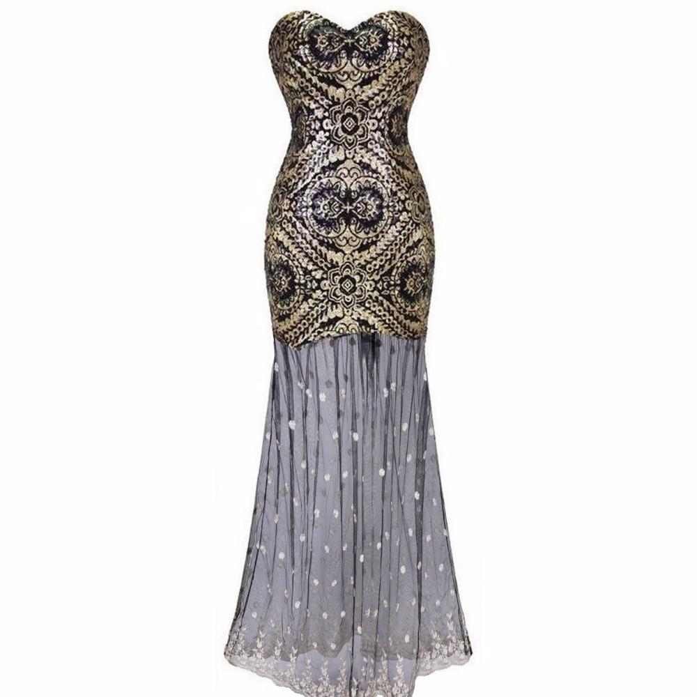 1920s dress Strapless Sequin Flower Tulle