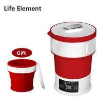 Hervidor de agua de viaje plegable de elemento de vida con copa de silicona portátil Mini aislamiento de temperatura hervidor 100-240V