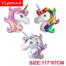 VIPOINT PARTY 110x80cm rainbow purple pink unicorn foil balloons wedding event christmas halloween festival birthday party PD-97