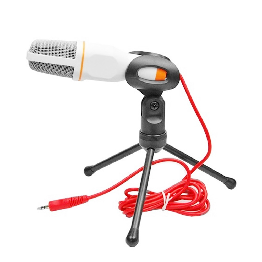 Vapeonly Condenser Microphone 3.5mm Wired Desktop Broadcasting Studio Microphones w/ Mini Tripod Mic for Computer PC Smartphone