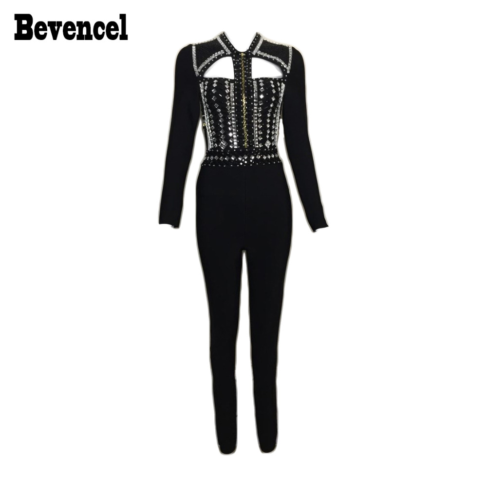 Bevencel Luxe Beads Sexy Bodycon Bandage Jumpsuuit 2020 New Long Sleeve O Neck Hollow Out Stretch Full Length Celebrity Jumpsuit