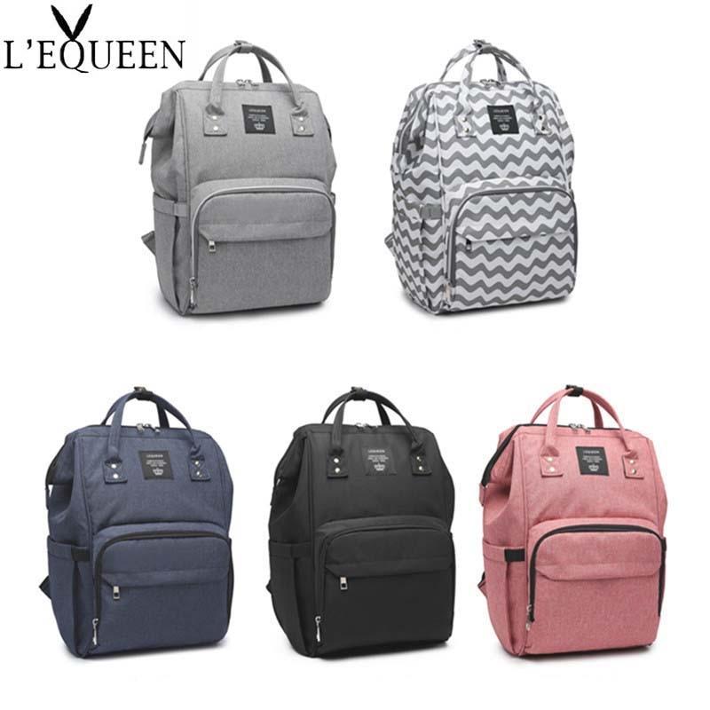 Lequeen Wave Pattern Mummy Bag Solid Large Capacity Travel Nursing Bag Multiple Backpack Portable Nappy Bag Diaper Puerperal Bag