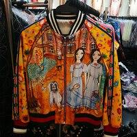 Xf Spring Autumn High Quality Designer Fashion Retro Women's Round Neck Pleated Chiffon Cartoon Girl Floral Print Jacket+ Dress