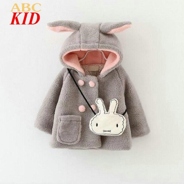Cartoon Bunny Hooded Jacket For Girls Fleece Winter Coat With Bag Kids Parka Doudoune Fille Cute Coat Infants Girl Hoodies KD329