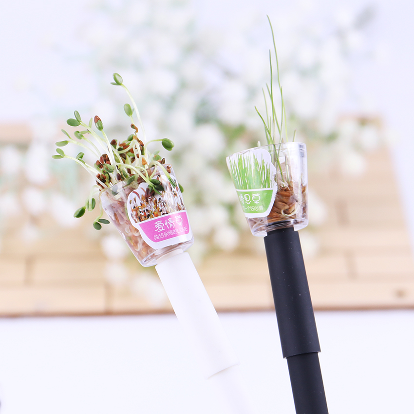 1PC Creative Cultivate Plant Gel Pens 0.5mm Black Ink Garden Grow Grass Pen School Office Stationery Lovely Children Lover Gift