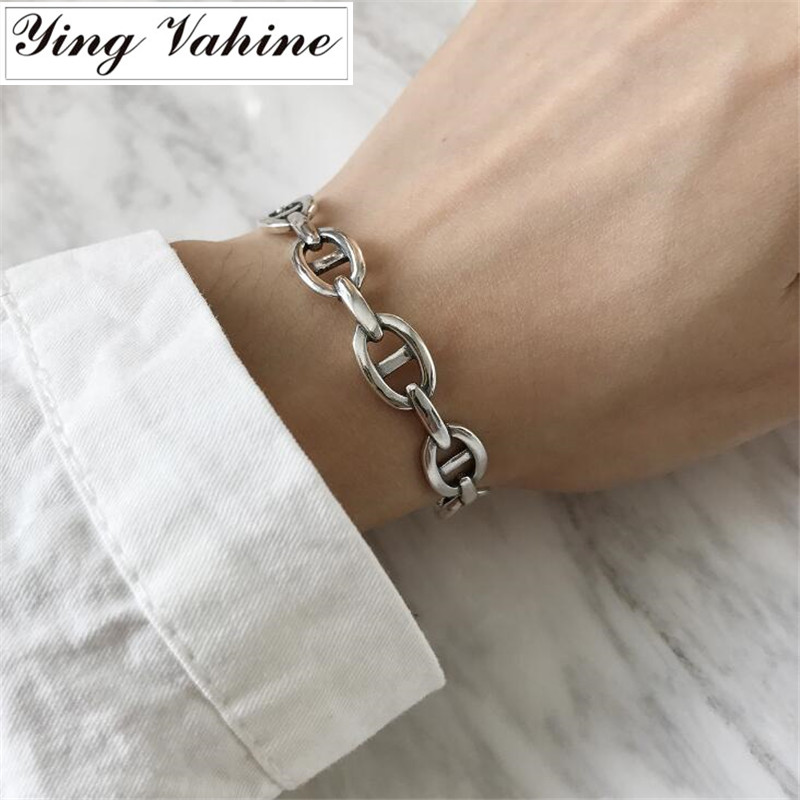ying Vahine Authentic 925 Sterling Silver Jewelry Chinese Character Bangles for Women bijoux femmeying Vahine Authentic 925 Sterling Silver Jewelry Chinese Character Bangles for Women bijoux femme