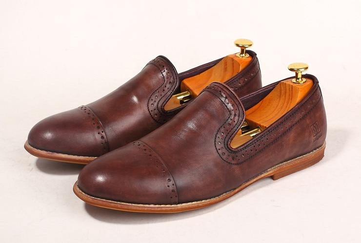 Retro Inferior Suave De En Hombres Deslizamiento Transpirable Toes Cuero as Pic Brogue Trabajo Tallado Mocasines Hecho Mano Genuino Ronda A Pic Estilo As Nuevo Zapatos ZAawqZO