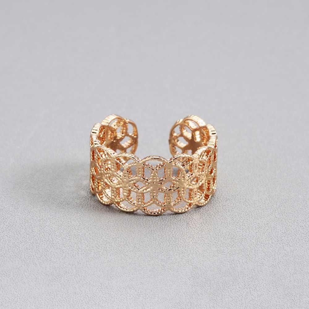 Feminino indiano mulher dourada anéis retro oco flor artesanato crânio amor coração charme boho dedo do pé ajustável anel feminino presente