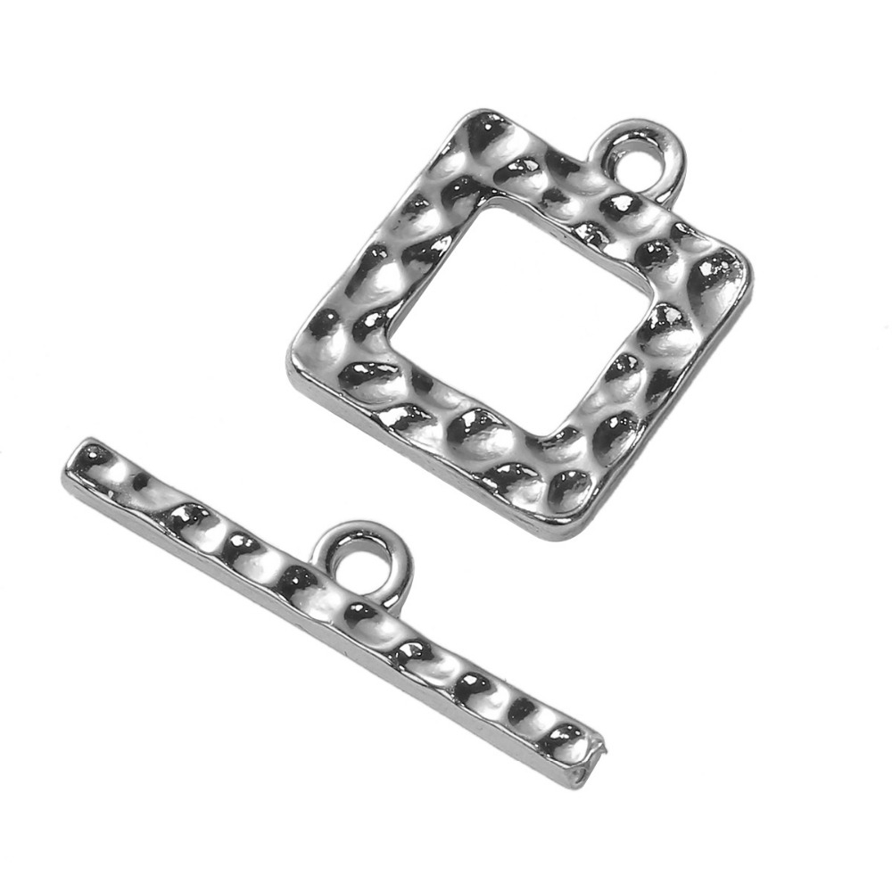 DoreenBeads Zinc Based Alloy Silver Gold Color DIY Toggle Clasps Square 25mm X5mm(1