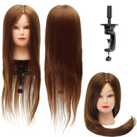 30 inch 30% Real Human Hair Training Head Hairdresser Hairdressing Mannequin With Clamp Holder Women Lady Mannequin 2019 New