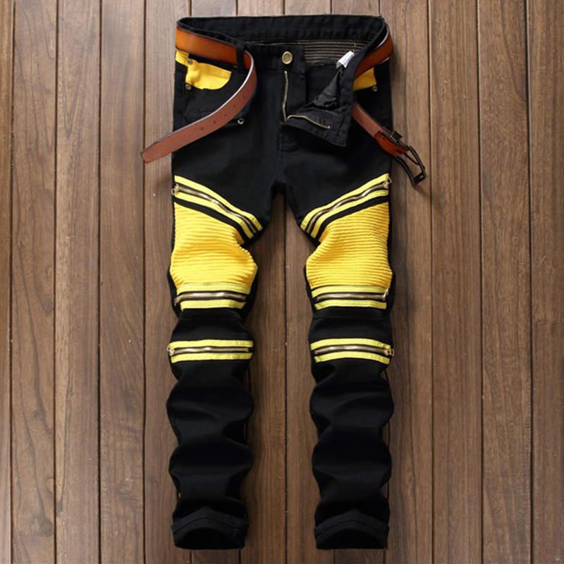 Mens Fashion Zipper Pacthwork Biker Jeans Yellow Black Knee Pleated Multi zipper Men Slim Motorcycle