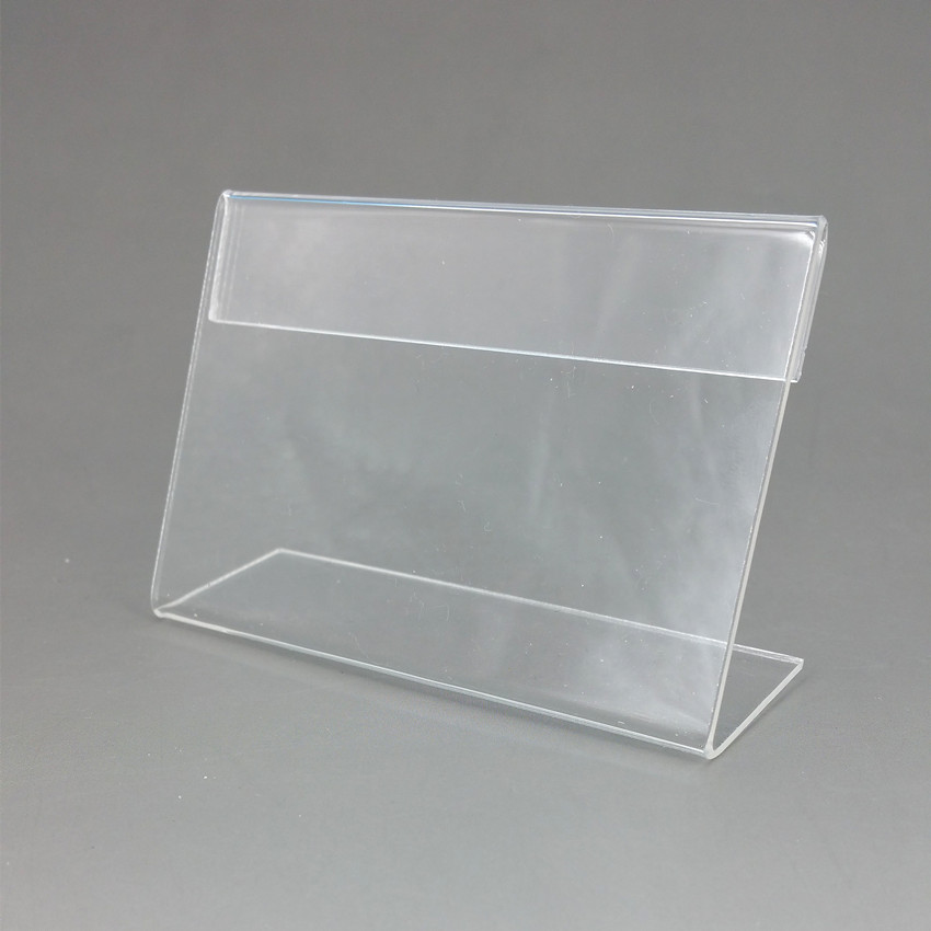 Inventive 8x6cm Clear Acrylic Plastic Sign Price Tag Label Display Show Paper Promotion Card Holders T1.3mm L Stand 1000pcs Good Quality