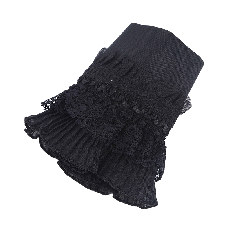 Korean Version Multi-layer Black Lace Pleated Fake Cuff Fashion New Ladies Clothes Decoration Fake Sleeves Women Sweater Gloves
