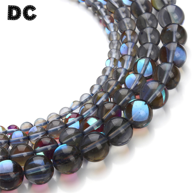 DC 1Strand/lot 6/8/10/12mm Round Gray Crystal Glass Beads Glow in The Dark Loose Spacer Beads for Jewelry Making Supplies