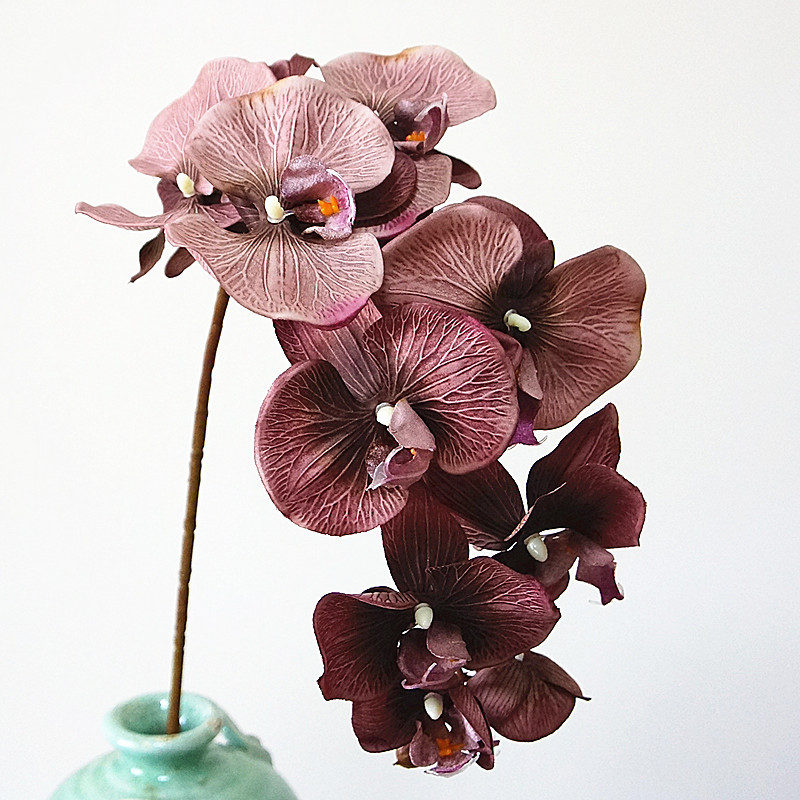 10Heads big Artificial Orchid Flowers European Retro style Moth Butterfly Orchids Home Wedding Party Decoration fake silk flores