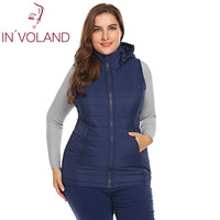 IN'VOLAND Large Size L 5XL Women Vest Jacket 2018 Spring Winter Warm Slim Hooded Zip up Ladies Padded Sleeveless Coat Big Size