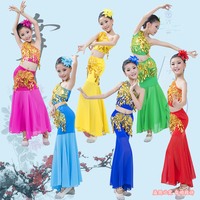 Children Indian Traditional Dress Sequins Belly Dance Costume For Girls Peacock Kids Dai Fish Tail Leotard