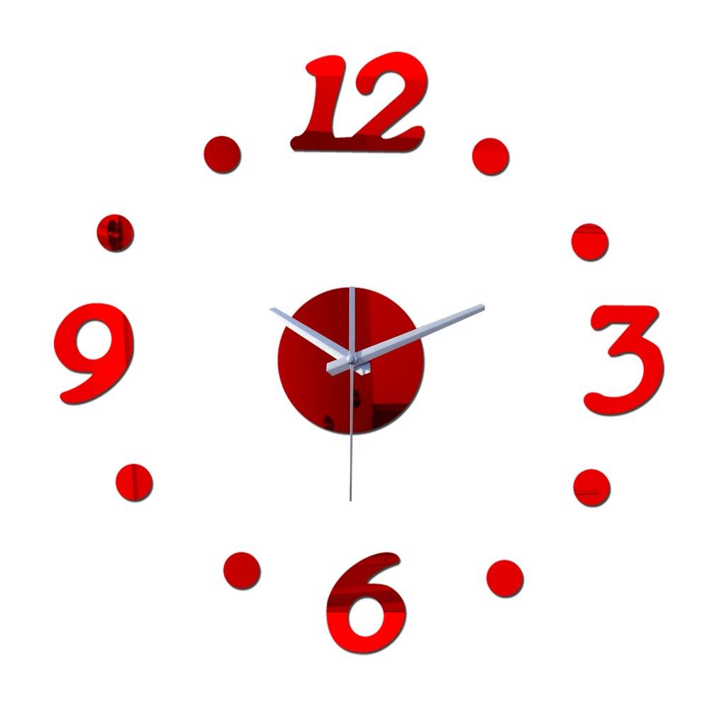2015 nova real especial diy abs plástico relógios de sala de espelho relógio de parede relógio de quartzo breve acrílico circular agulha frete grátis
