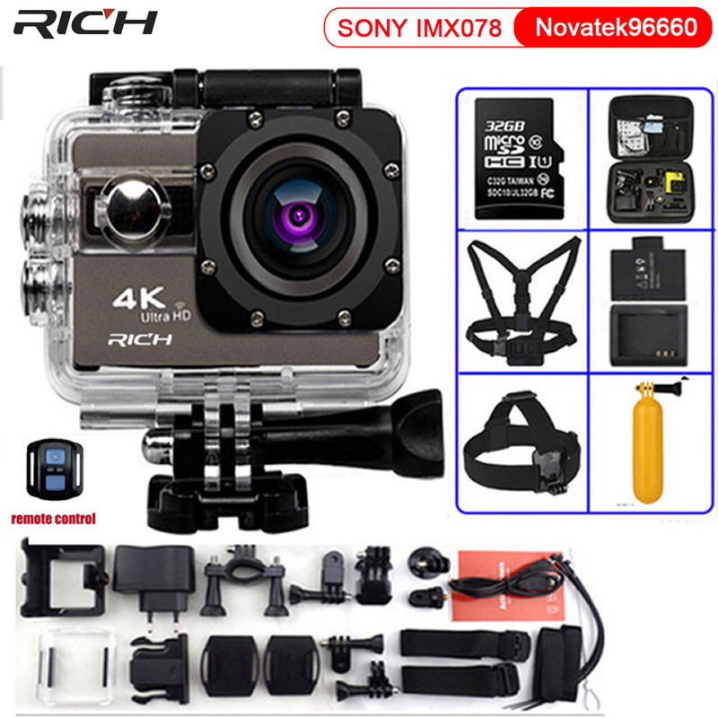 Action Camera F68 Ultra HD 4K 24FPS Wifi Novatek 96660 Waterproof 30M F68R Remote control Extreme Sports Camera