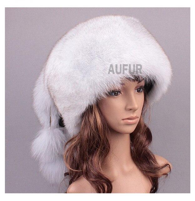 Женщины лиса меховые шапки 100% натурального меха шапки с меховой шар русский Hat природный Rccoon головные уборы меха зимой бомбардировщик шляпу AU00819