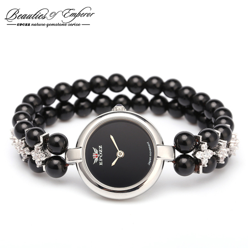 Beauties of Emperor EPOZZ nature gemstone series quartz watch for women luxury 925 silver natural stones bracelet clock H0822S11