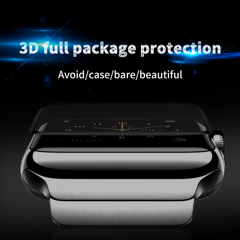 4D/3D curved surface Tempered Glass Film For Apple watch Full Glue waterproof Screen Protector for Apple Series 1/2/3 Film-in Phone Screen Protectors from Cellphones & Telecommunications on