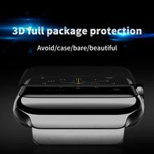Película de vidrio templado curvado 4D/3D para Apple watch, pegamento total Protector de pantalla a prueba de agua para Apple Series 1/2/3