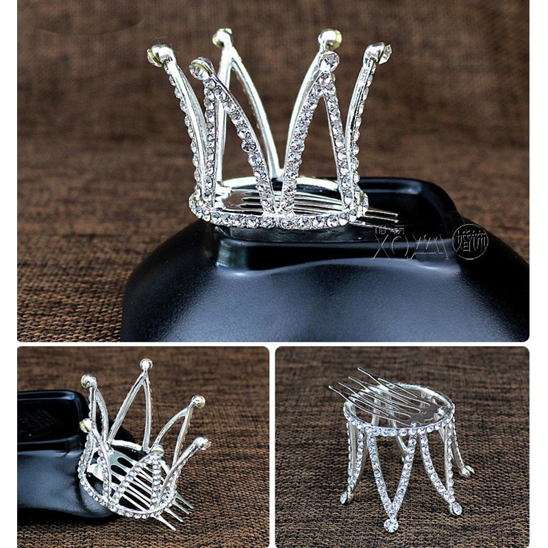 TDQUEEN Tiaras and Crowns with Comb Gold Color Kids Girls Mini Round Hair Jewelry Accessories Pageant Prom Princess Tiara Crown (4)