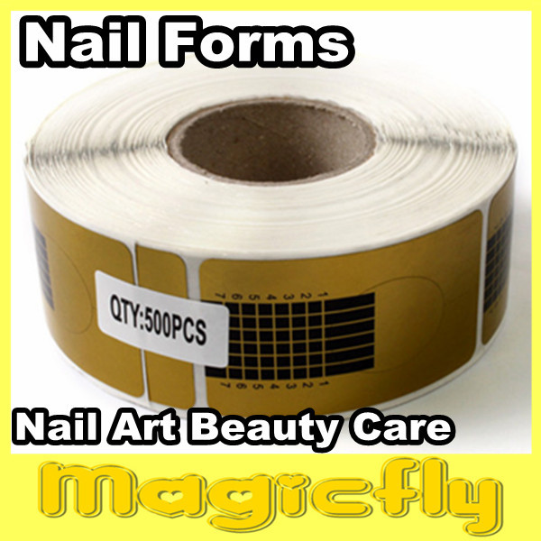 [Retail-018]500 Golden Horseshoe shape Forms Nail Art Sculpting Acrylic UV Gel Tips Telfon Nail Forms Guide Extension ...