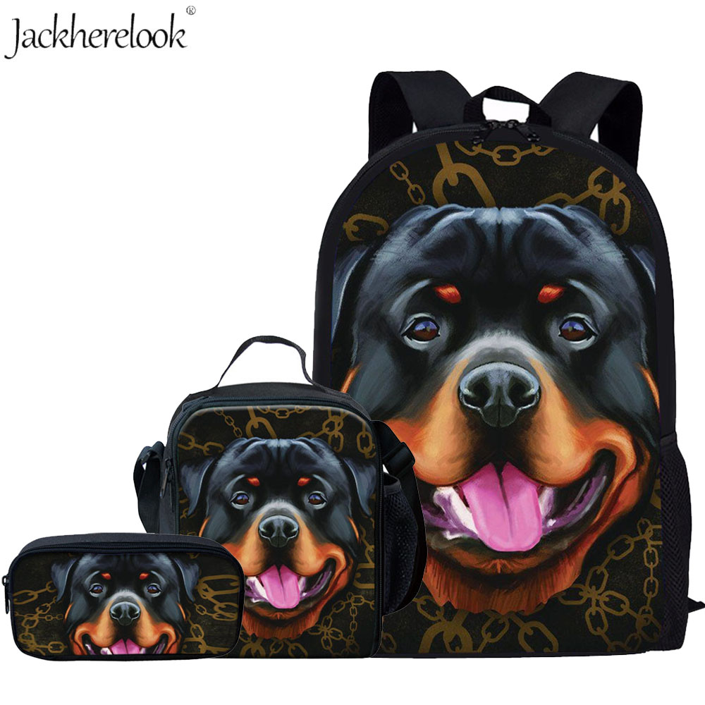 3Pcs/Set Kids Dog School Bags For Boys Girls Rottweiler/ Doberman/PitbullI/Labrador Backpack Children Primary Book Bag Schoolbag