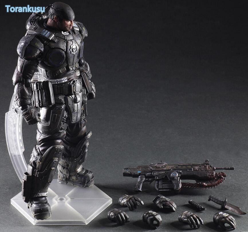 Gears of War 3 Action Figure Marcos Play Arts Kai PVC Figure 260mm Anime Gears of War Collectible Model Doll Playarts PA31