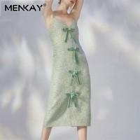 [MENKAY] Elegant Sleeveless Dress For Women V Neck Off Shoulder High Waist Diamond Bowknot Patchwork Beach Dresses Female Summer