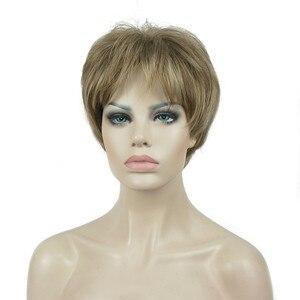 Image 2 - Strong beauty perruque Hai synthétique courte et lisse pour femmes, sans fil, perruque Blonde/noire, 11 couleurs