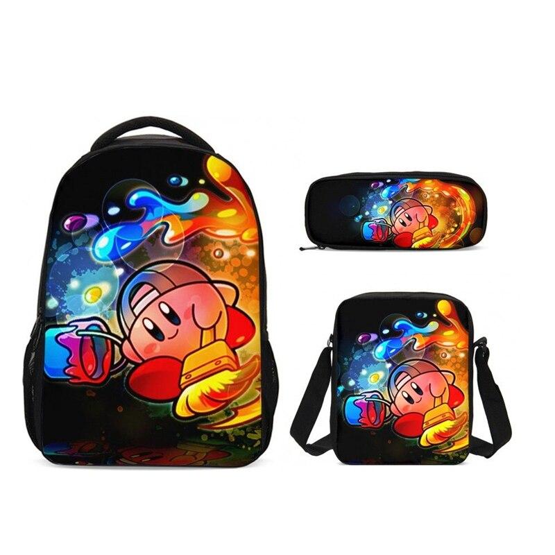 Милый мультфильм Кирби школьный рюкзак для девочек детские школьные рюкзаки студенческие сумки для начальной школы для мальчиков подростк