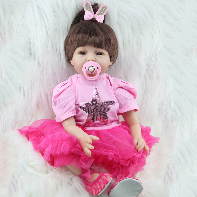 Lovely Girl Baby Dolls Cotton Body Silicone Reborn Doll 2017 Babies-reborn Alive Brinquedos Princess Gift for Children Partner 2016 cotton body reborn babies lifelike princess girls doll toy rooted mohair gift for baby reborn poupon brinquedos new year