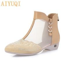 Купить с кэшбэком AIYUQI Women's summer boots 2019 spring new genuine leather women's net boots, large size 41 42 43 rhinestone dress shoes women