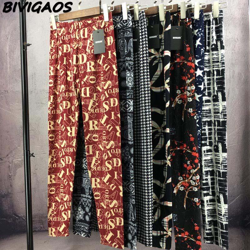 BIVIGAOS Spring Summer Womens Fashion Black Milk Thin Stretch leggings Colored Stars Graffiti Slim Skinny Leggings Pants Female 84